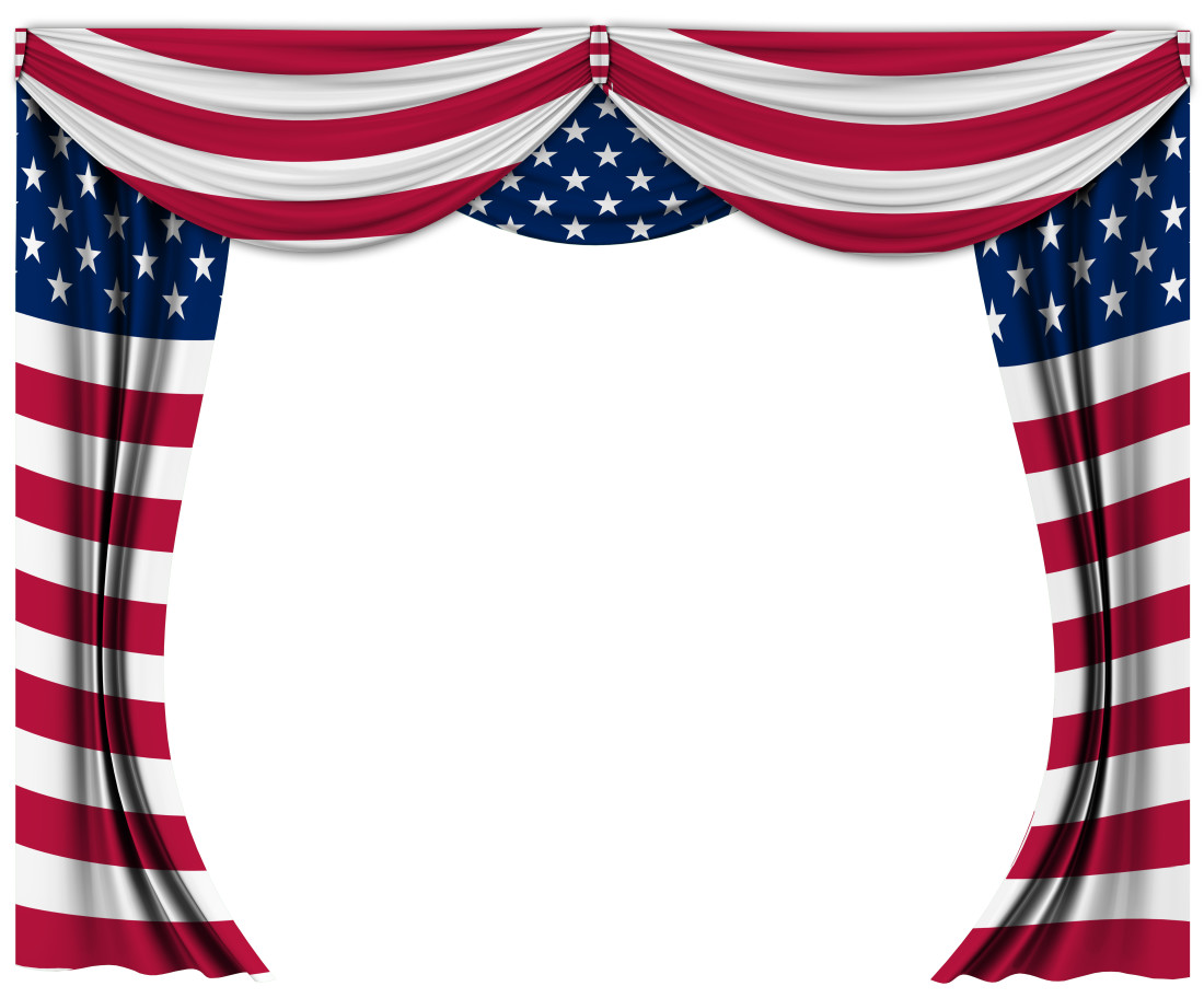 Image of drapery featuring an American Flag textile design