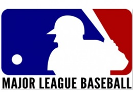 Batter in red, white and blue logo above MAJOR LEAGUE BASEBALL