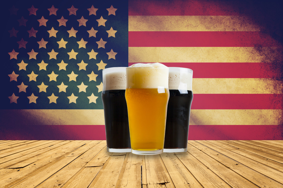 Image of three beers with an American Flag background