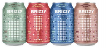 "On the left, BRIZZY cans tapered on top and bottom, with solid color backgrounds behind digital dots forming different shaped glasses, and with ""Seltzer Cocktail"" in small text.  On the right, VIZZY cylindrical cans with white backgrounds and pictures of fruit in two-color panels, and with ""Hard Seltzer"" in small text and ""With Antioxidant Vitamin C"" in bold letters"