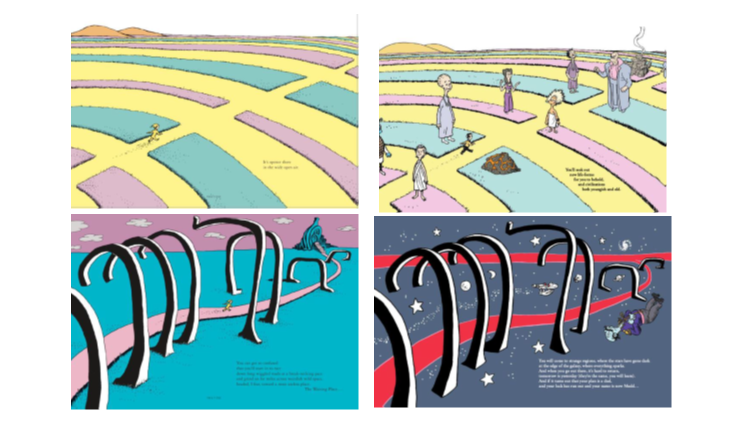 Dr. Seuss's distinctive illustrations (left)	ComicMix's highly similar illustrations (right)
