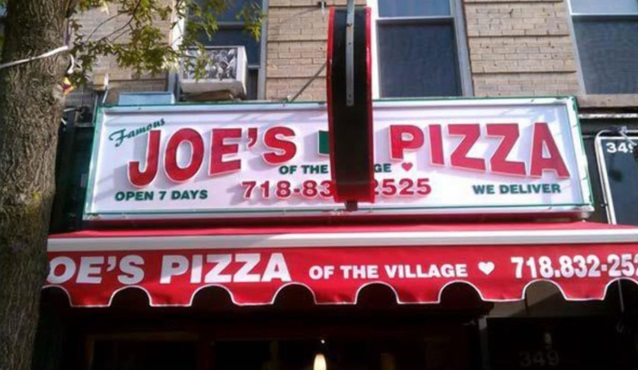 Restaurant Sign for Famous Joe's Pizza of the Village