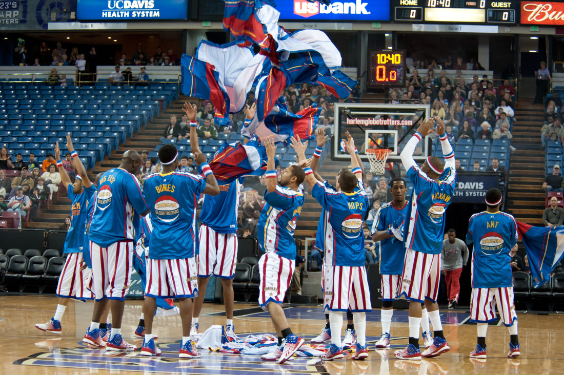 Photo of basketball team in outfits resembling the American Flag