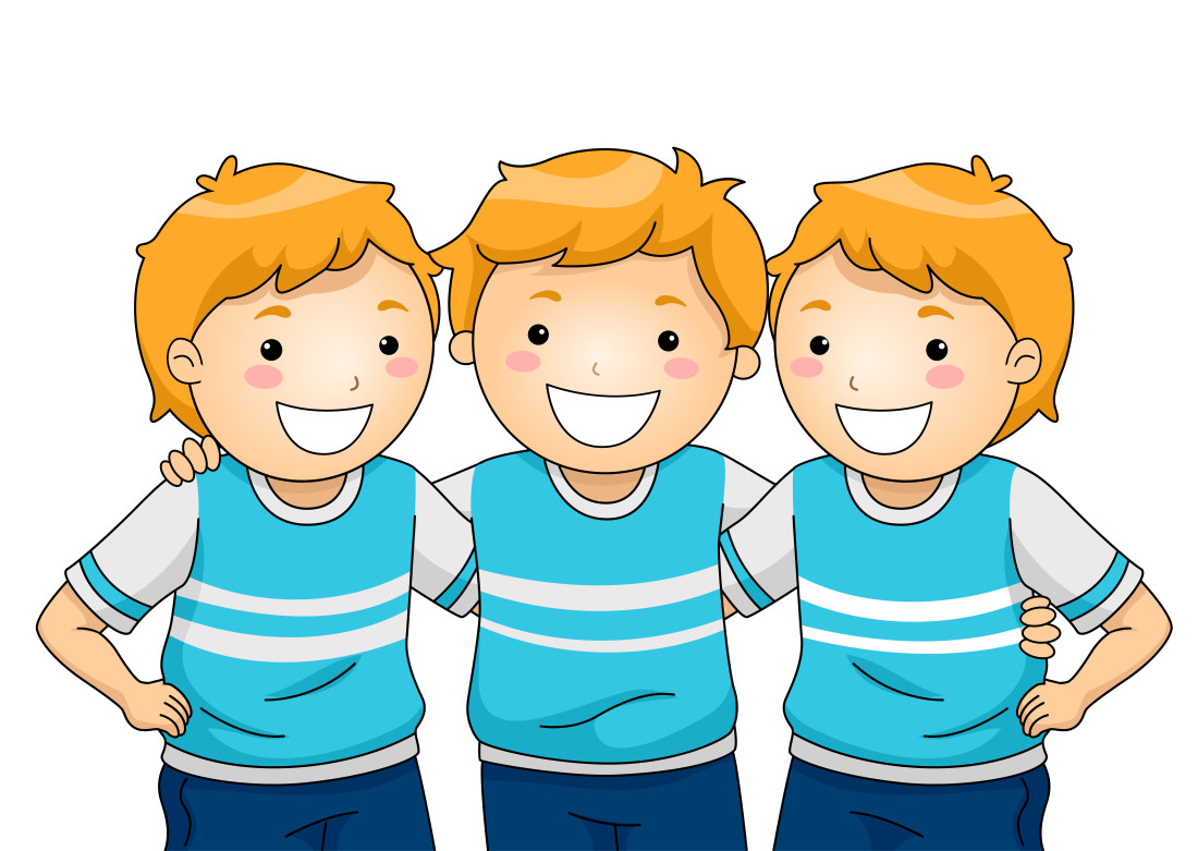 Illustration of boy triplets wearing the same clothes
