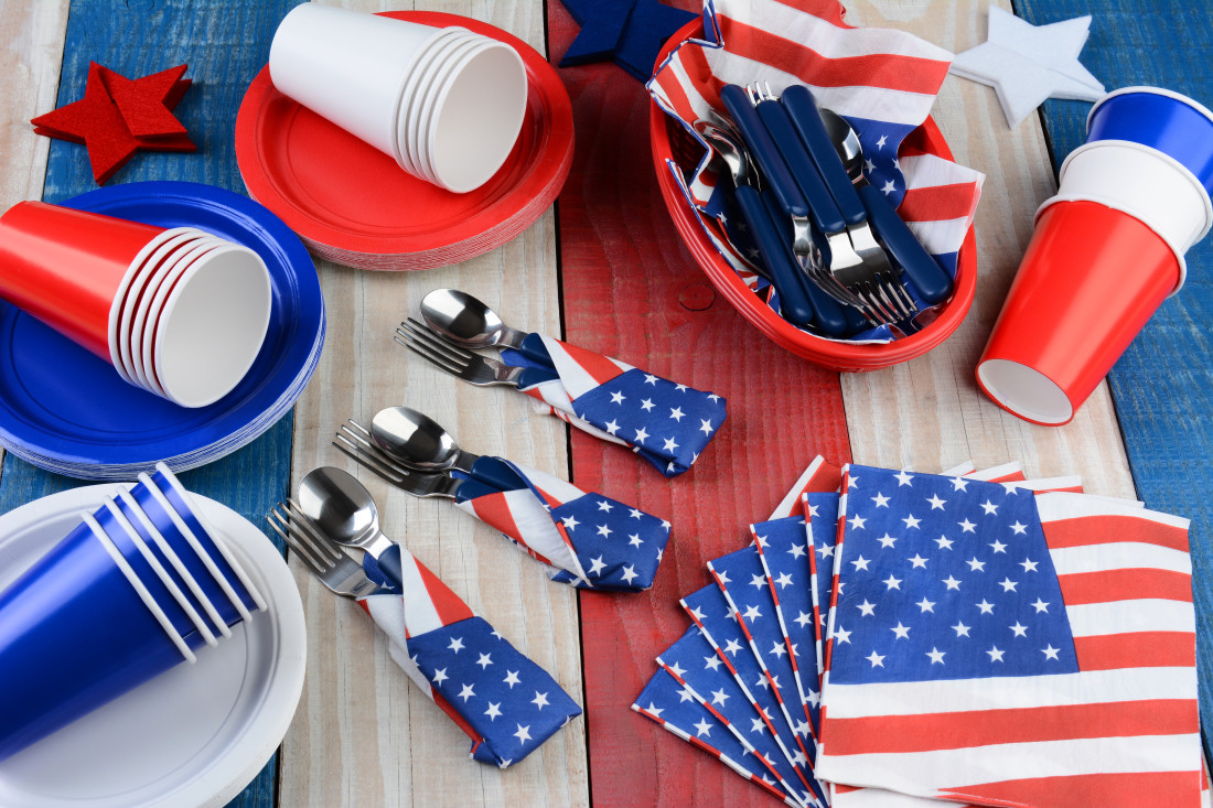 Photo of disposable table wares with printed American Flag designs
