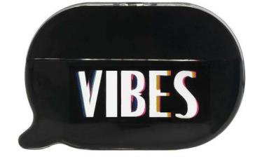 KKW Fragrance's VIBES Logo in capital letters on a bottle shaped as a conversation bubble