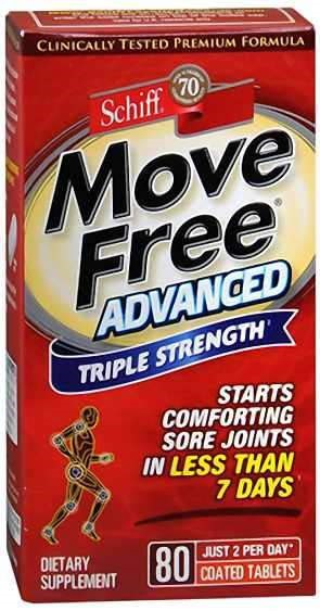 "Box of Move Free® Advanced Triple Strength dietary Supplement stating ""Starts Comforting Sore Joints in Less Than 7 Days."""