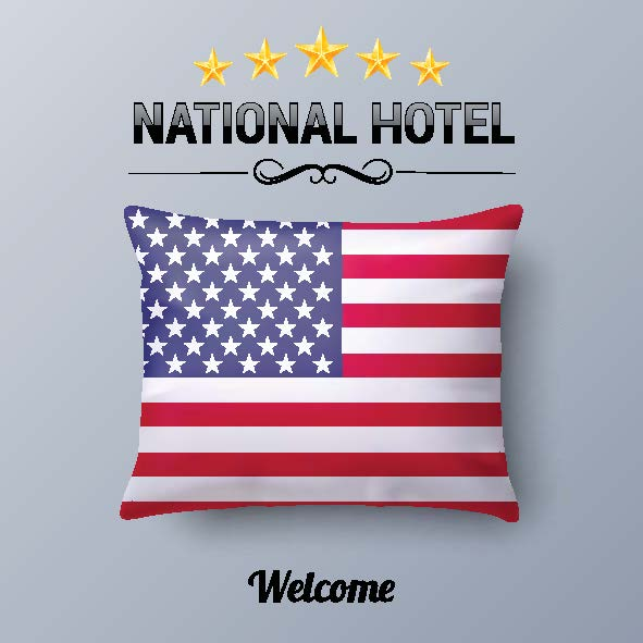 "Image of a pillow with an American Flag printed on it, and the words ""National Hotel"" and ""Welcome"""