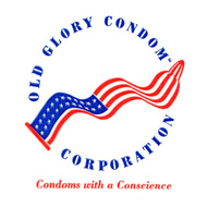 "Image of alternate logo for the ""Old Glory Condom Corporation"" with the additional words ""Condoms with a conscience"""