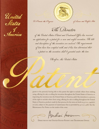 Picture of the Current Cover of a U.S. Patent