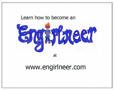"Second page of book stating ""Learn how to become an Engirlneer at www.engirlneer.com"