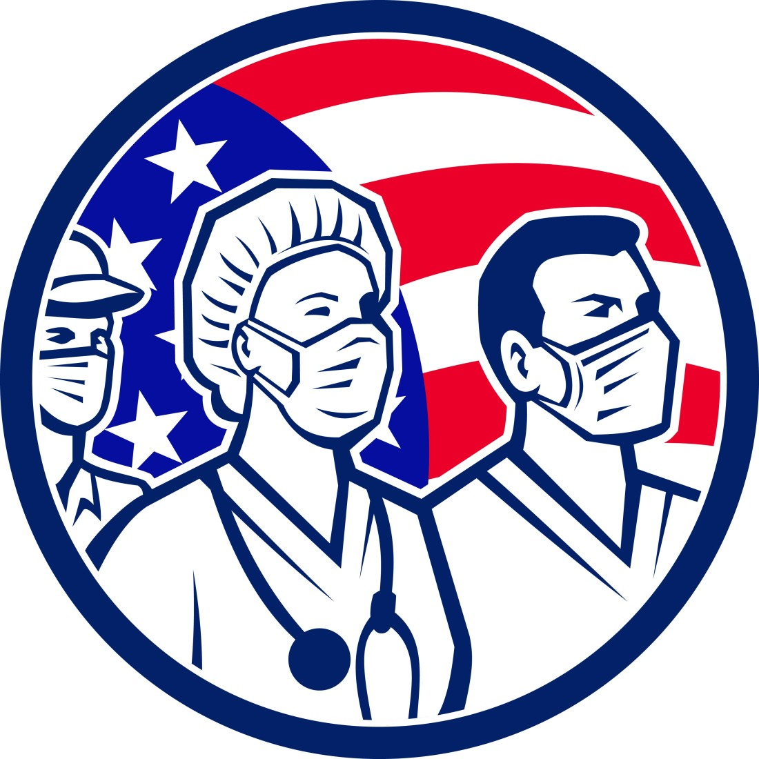 Retro Style American Healthcare Workers