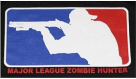 Rifleman in red, white and blue logo above MAJOR LEAGUE ZOMBIE HUNTER