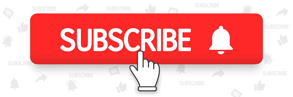 "The word ""SUBSCRIBE"" before a bell on a red rectangle above a hand pointing to the word"