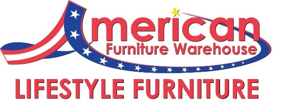 The Mark AMERICAN FURNITURE WAREHOUSE with the letter A in a stars and stripes flag design above the words LIFESTYLE FURNITURE