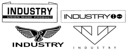 The word INDUSTRY repeated four times with various design elements