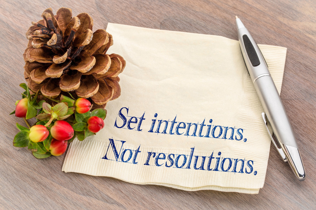 Set intentions. Not resolutions. written on napkin